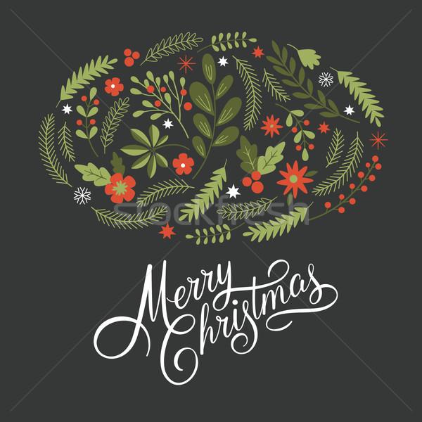 Vrolijk christmas donkere winter print kaart Stockfoto © Lenlis