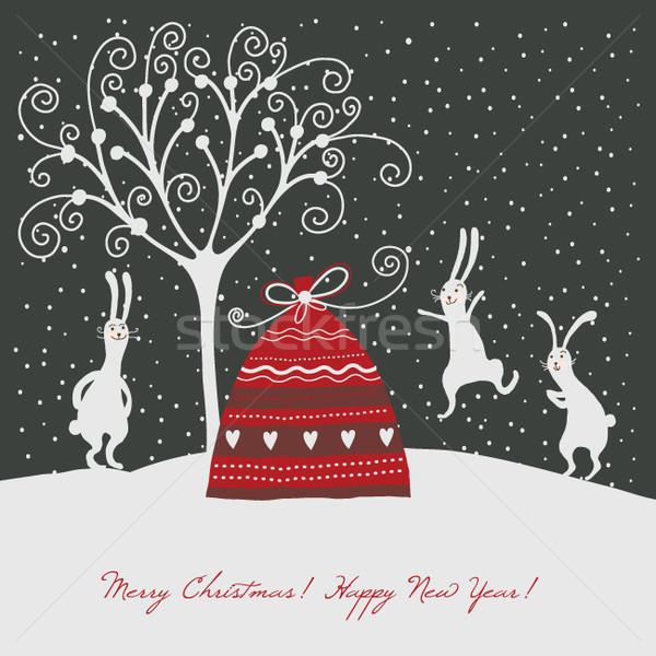 Biglietto d'auguri albero coniglio arte inverno bag Foto d'archivio © Lenlis
