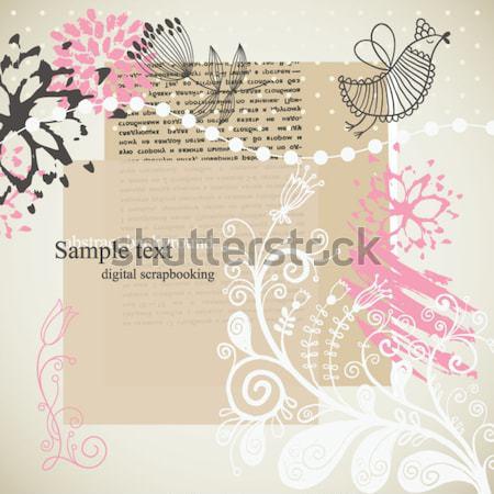 ストックフォト: グラフィック · コラージュ · 蝶 · フローラル · 要素 · 花
