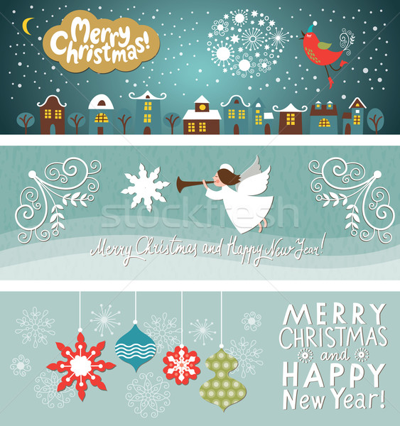 セット クリスマス 新しい 年 水平な バナー ストックフォト © Lenlis