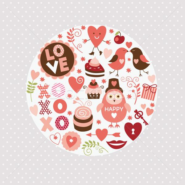 セット バレンタインデー 要素 幸せ カップル フレーム ストックフォト © Lenlis