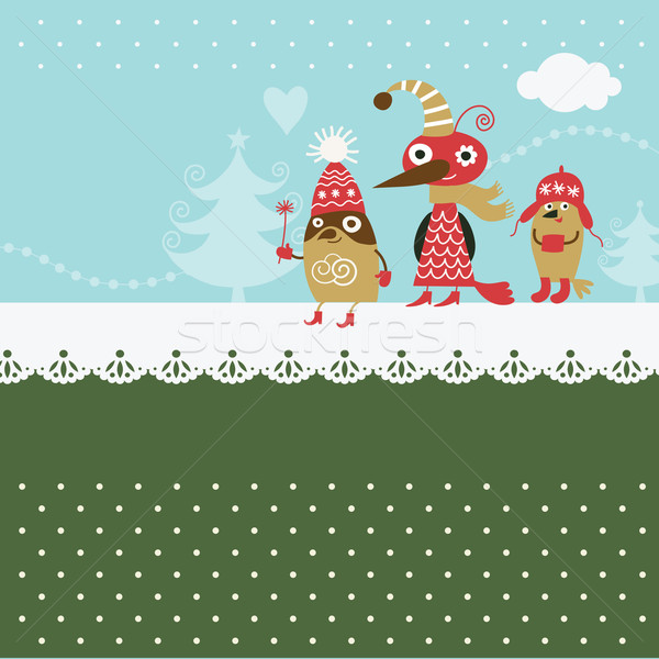 Christmas card, cute cartoon birds Stock photo © Lenlis