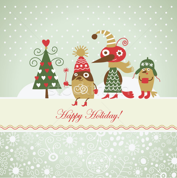 cute birds for greeting christmas card Stock photo © Lenlis