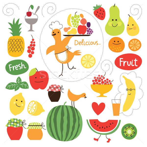 healthy eating, fruits, food illustrations collection  Stock photo © Lenlis