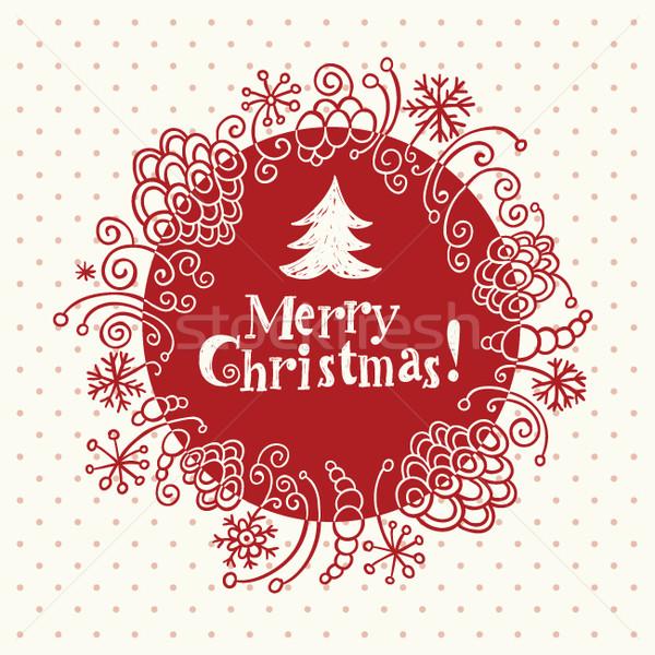 クリスマス グリーティングカード フレーム 芸術 赤 壁紙 ストックフォト © Lenlis