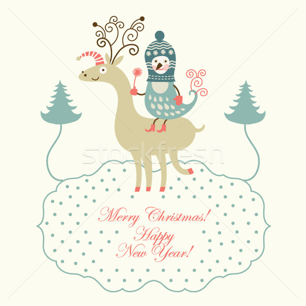 Cute deer and bird, greeting christmas card Stock photo © Lenlis