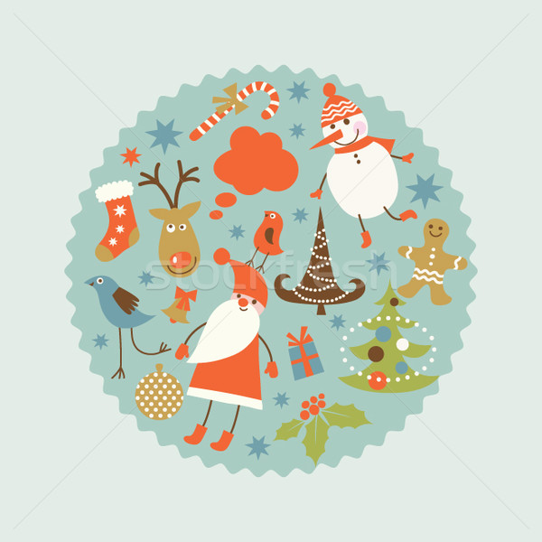 Untibackground with cute snowman tled Stock photo © Lenlis