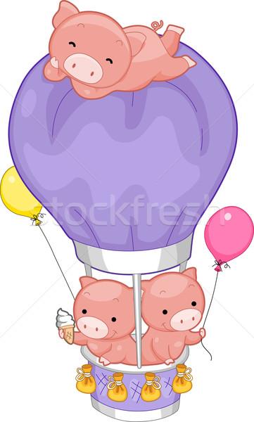 świń balonem ilustracja hot balon balony Zdjęcia stock © lenm