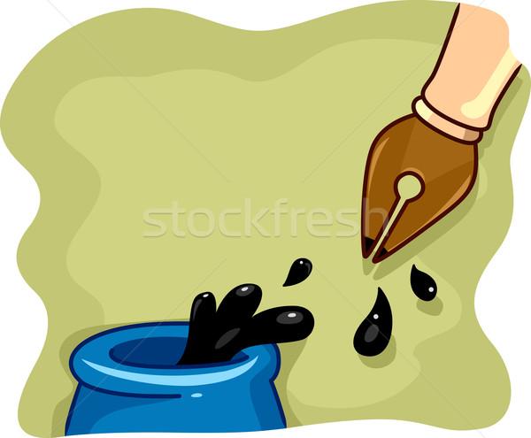 авторучка иллюстрация пер Дать Cartoon подписи Сток-фото © lenm