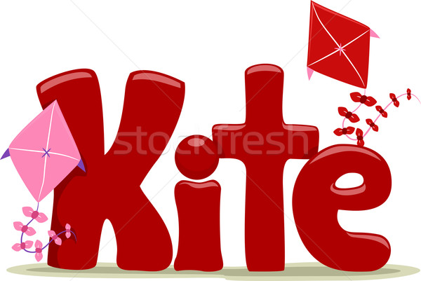 Kite texte illustration mot lettre jouet Photo stock © lenm