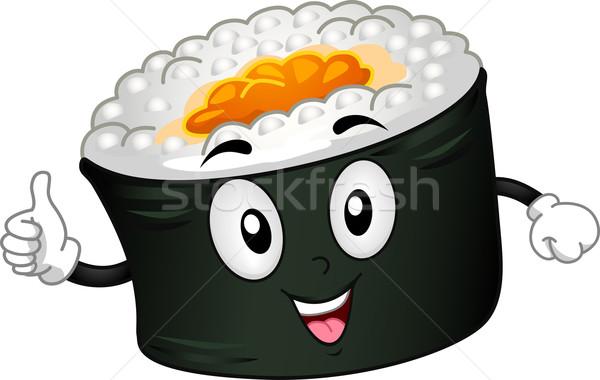 Maki mascote ilustração rolar comida saúde Foto stock © lenm