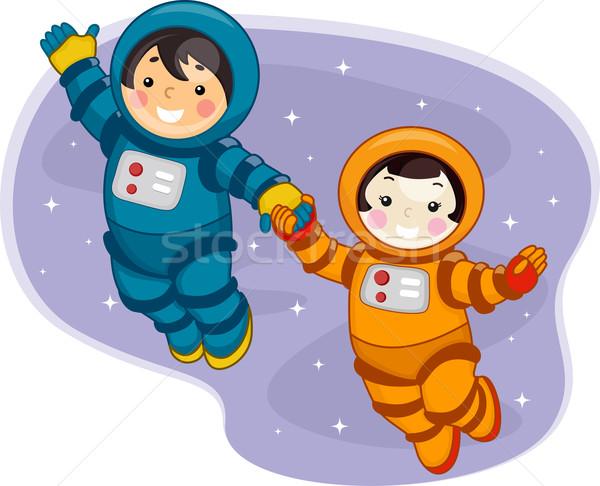 Espacio ninos ilustración espacio exterior nina Foto stock © lenm