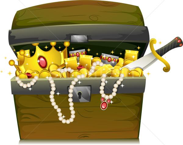 Kincsesláda illusztráció arany ékszerek kincs mellkas Stock fotó © lenm