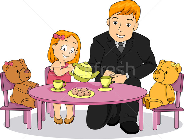 Little Kid Girl playing Tea party with her Father Stock photo © lenm