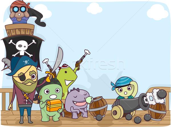 Monstre équipage illustration pirate cute peu Photo stock © lenm