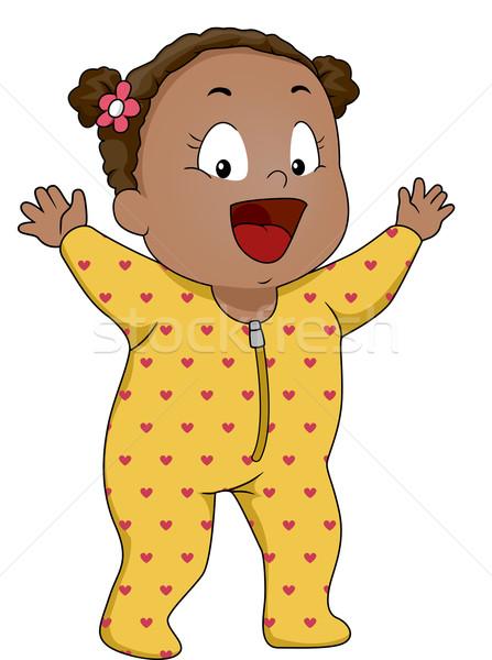 пижама иллюстрация улыбаясь ребенка Сток-фото © lenm