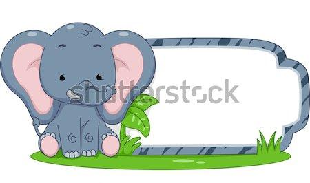Safari etykiety rhino ilustracja gotowy wydruku Zdjęcia stock © lenm