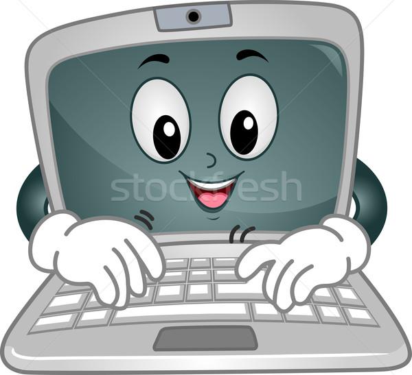 Laptop Mascot Typing Stock photo © lenm