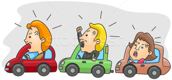 Verkeer boos mensen man cartoon Stockfoto © lenm