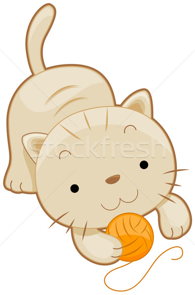 かわいい 猫 ぽってり 演奏 ボール 糸 ストックフォト © lenm