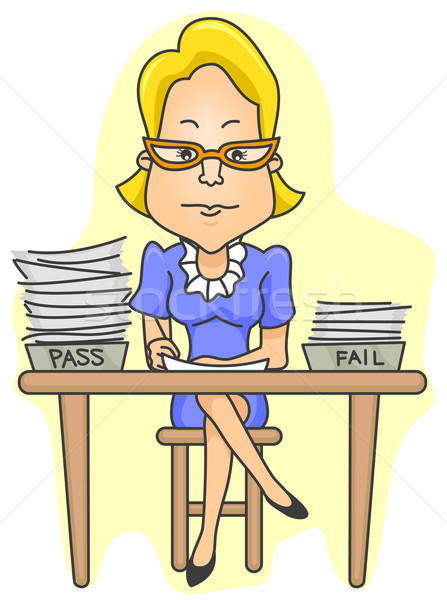 Nauczyciel test kart dziewczyna szkoły edukacji Zdjęcia stock © lenm