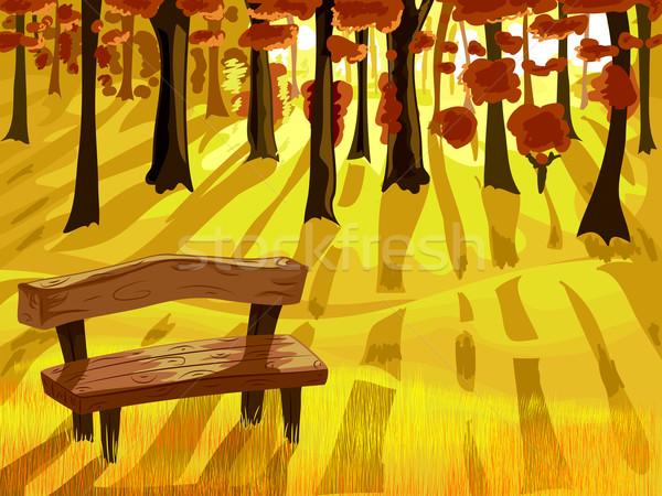 Autumn Forest Bench Scene Stock photo © lenm