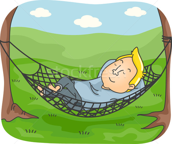 Man Hammock Camping Nap Stock photo © lenm