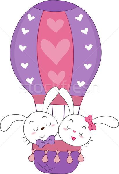 Bunnies in a Hot Air Balloon Stock photo © lenm