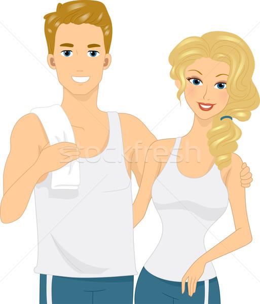 Caber casal ilustração mulher fitness saúde Foto stock © lenm