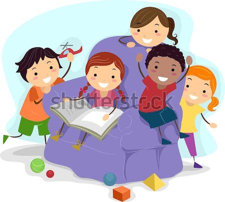 Okuma çocuklar örnek kitaplar çocuk çocuk Stok fotoğraf © lenm