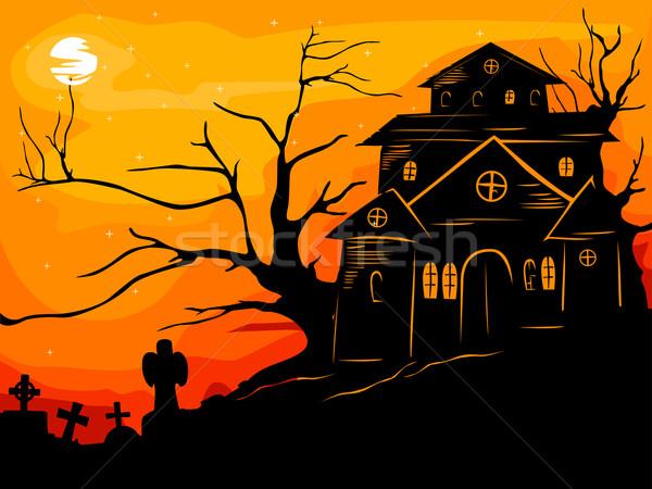 Kisértetjárta ház halloween illusztráció sziluett narancs Stock fotó © lenm