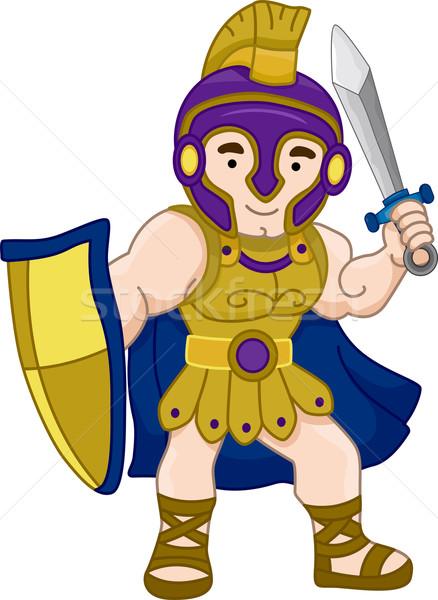 Oude Grieks krijger illustratie ontwerp oorlog Stockfoto © lenm