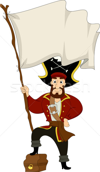 Pirate with Treasure Chest and Pirate Flag Stock photo © lenm