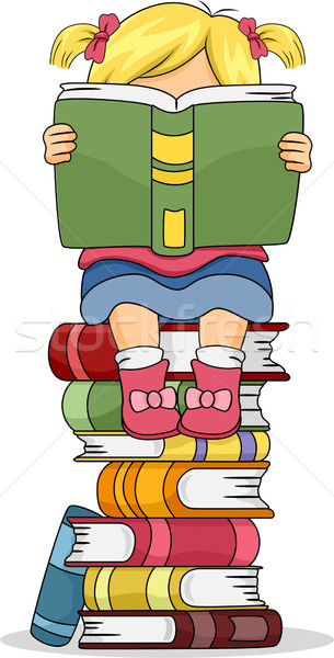 Little Kid Girl Reading a Book Sitting on Pile of Books Stock photo © lenm