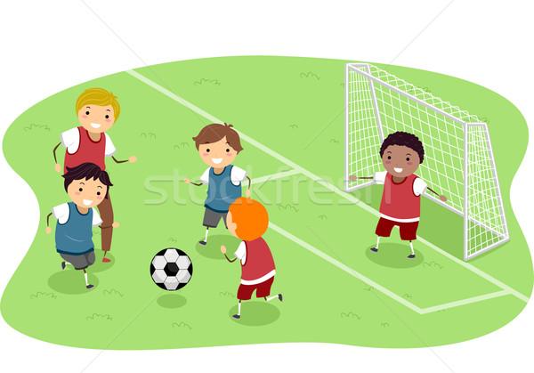 Futball illusztráció csoport fiúk játszik gyerekek Stock fotó © lenm