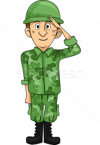 Soldaat illustratie hand man cartoon militaire Stockfoto © lenm