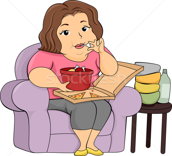 Overweight Girl Eating Stock photo © lenm