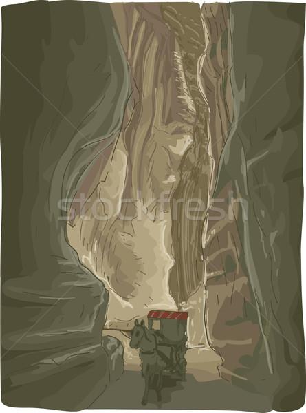 Jordania ilustracja konia jazdy wąski Zdjęcia stock © lenm