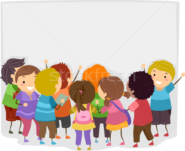 Közlöny közlemény illusztráció gyerekek ki tábla Stock fotó © lenm