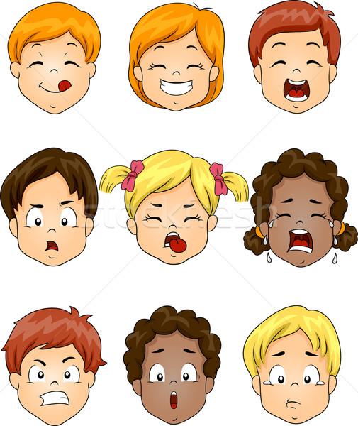 子供 表情 実例 異なる 表情 ストックフォト © lenm