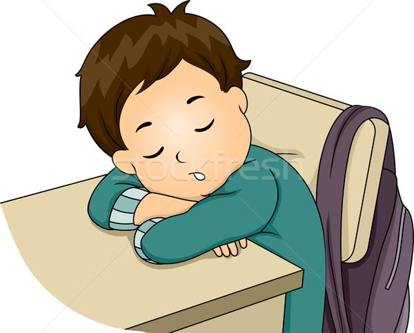 Boy Sleeping in Class Stock photo © lenm