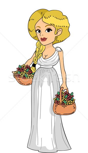 римской девушки иллюстрация женщину цветы Сток-фото © lenm