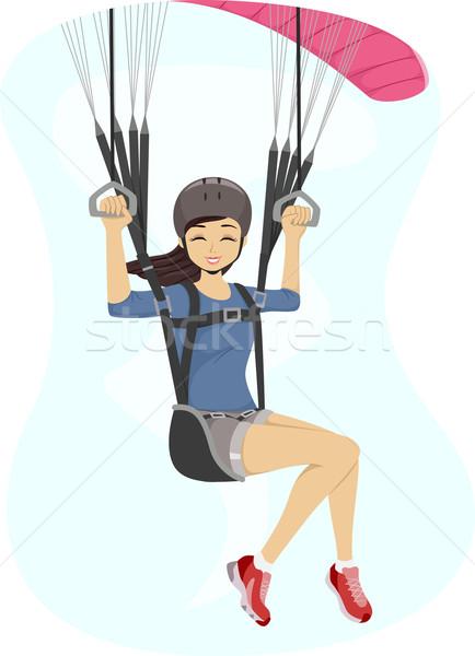 Siklórepülés lány illusztráció sportok tini fiatal Stock fotó © lenm