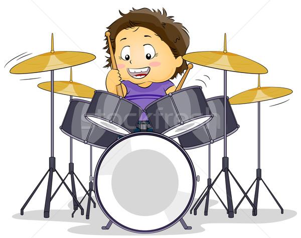 барабанщик иллюстрация Kid играет мальчика музыканта Сток-фото © lenm