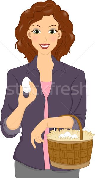 Lány kosárnyi tojás illusztráció hordoz kosár tele Stock fotó © lenm