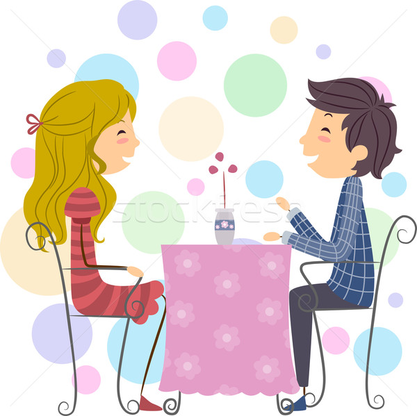 Couple illustration date Homme cartoon Photo stock © lenm