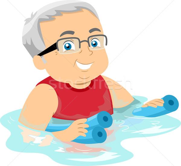 Senior man illustratie opknoping ouderen Stockfoto © lenm