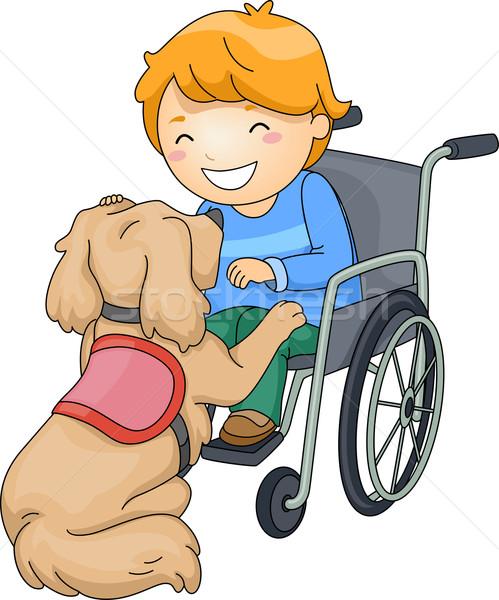 Kid Boy Dog Assistance Stock photo © lenm