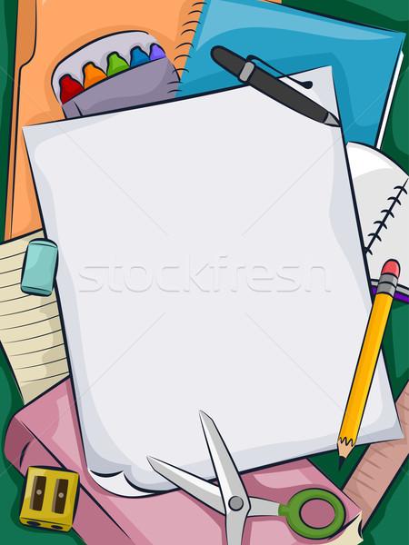 Schoolbenodigdheden illustratie bos papier frame studie Stockfoto © lenm