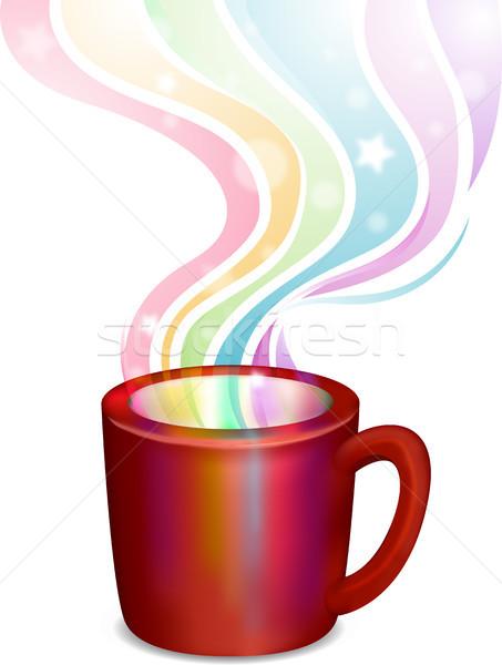 虹 蒸気 カップ 実例 朝食 色 ストックフォト © lenm